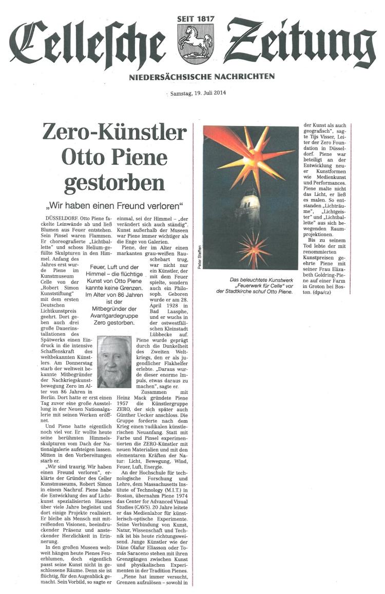 Zero-Künstler Otto Pine gestorben - Cellesche Zeitung, 19.07.2014