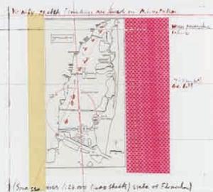 Christo (*1935) Surrounded Islands, Biscayne Bay, Greater Miami, Florida 1980-83, 1987 (Teil 2) Lichtdruck und Serigraphie mit Collage (Lageplan, rosa Kunststoffgewebe und Klebstreifen) 38 x 40 cm