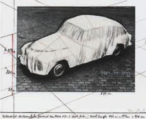 Christo (*1935) Verpacktes Automobil, Projekt für einen Volvo 122 S Sport Sedan, 1984 Lithographie mit Collage 56,5 x 71 cm