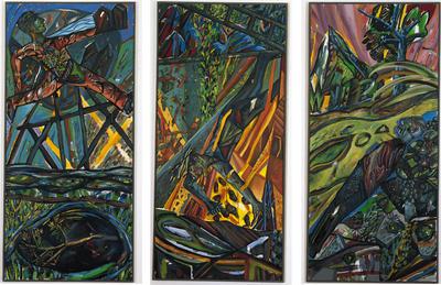 Hartmut Neumann (*1954) Vom Sturz der Dinge, 1984 Öl/Acryl auf Leinwand dreiteilig, je 245 x 113 cm