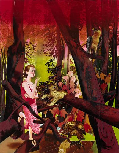 Mädchen im Wald_2014_230x180cm_Foto Bernhard Strauss
