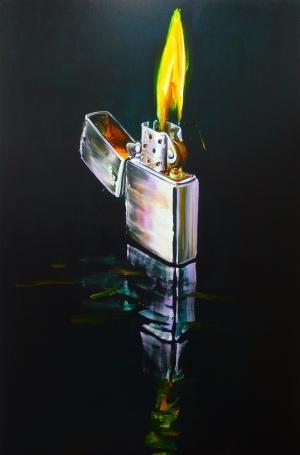 Cornelius Völker Feuerzeug, 2010, Öl auf Leinwand