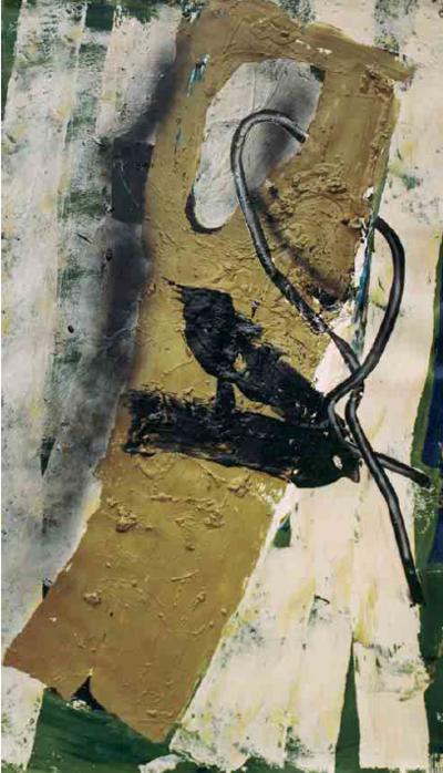 Dieter Krieg Bild 1 aus 5-teiliger Papierarbeit »1« »Stu« »nd« »Lei« »dn«, 1992, Acryl auf Bütten