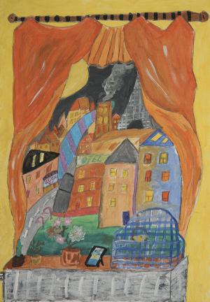 Lesko Jana: »Fensterausblick«, Malerei, 35x50 cm,