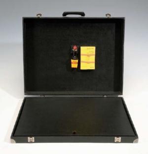 Joseph Beuys (1921- 1986) Ich kenne kein weekend, 1971-72 Maggiflasche und Buch: Kant, Kritik der reinen Vernunft in Kofferdeckel 53 x 66 x 11 cm