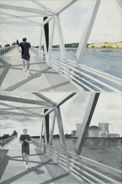 »Der Brückenläufer« von Janine Hauschildt, Acryl